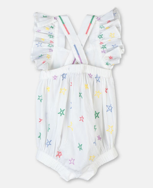 Mermaids Embroidery Cotton Romper
