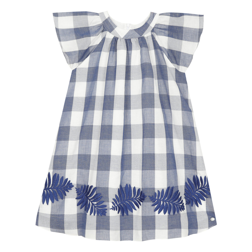 Navy Gingham Print and Embroidery Dress
