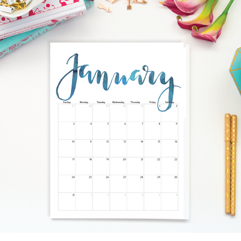 ... -drawn 2016 Calligraphy Calendar, Beautiful Watercolor Style Calendar