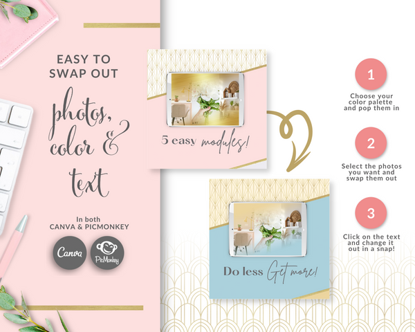15 Product Features + Teaching Points Square Carousel Templates - Blush Pink and Gold Edition