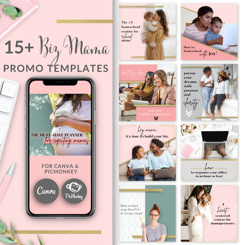 15+ Biz Mama Square Templates - Blush Pink and Gold Edition