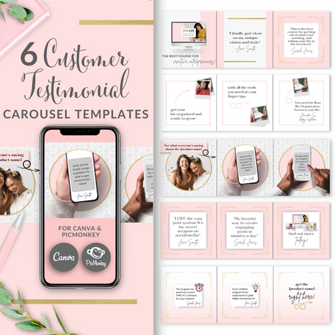 6 Customer Testimonial Square Carousel Templates - Blush Pink and Gold Edition
