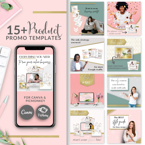 15+ Product Promo Square Templates - Blush Pink and Gold Edition