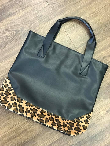 Black Leather/ Leopard Tote