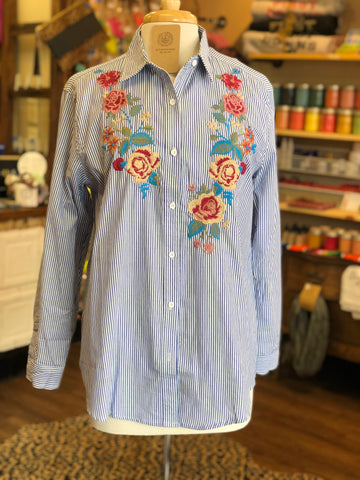 Chambray Top - Floral Embroidered Detail