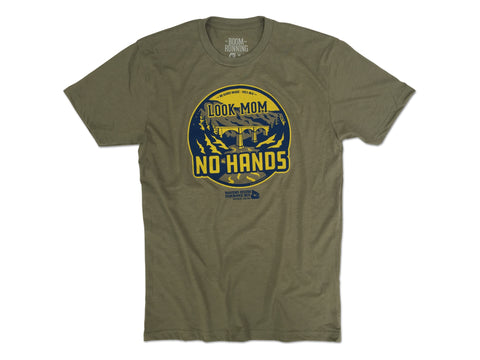 Look Mom No Hands Bridge WSER WS100 Western States boom RUNNING Mens Olive Green tshirt