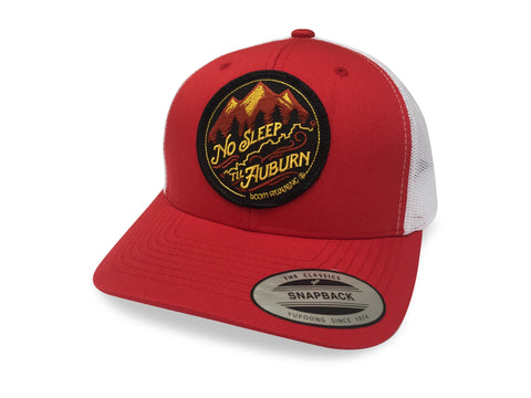 No Sleep Til Auburn WSER WS100 Western States boom RUNNING Trucker Hat Red White