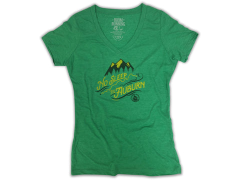 No Sleep Til Auburn WSER WS100 Western States boom RUNNING Womens Kelly Green Vneck