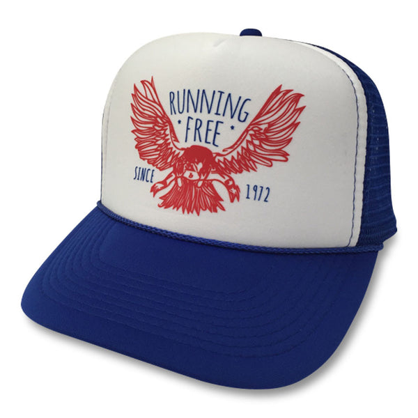 Running Free Eagle Trucker Hat boom Running Blue/White/Blue