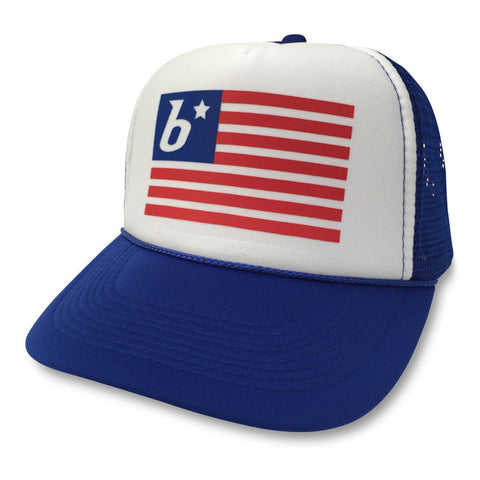 boom RUNNING Flag Trucker Hat Blue/White/Blue