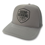 The Trademark Trucker Hat boom RUNNING Apparel Grey