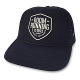 The Trademark Trucker Hat boom RUNNING Apparel Navy