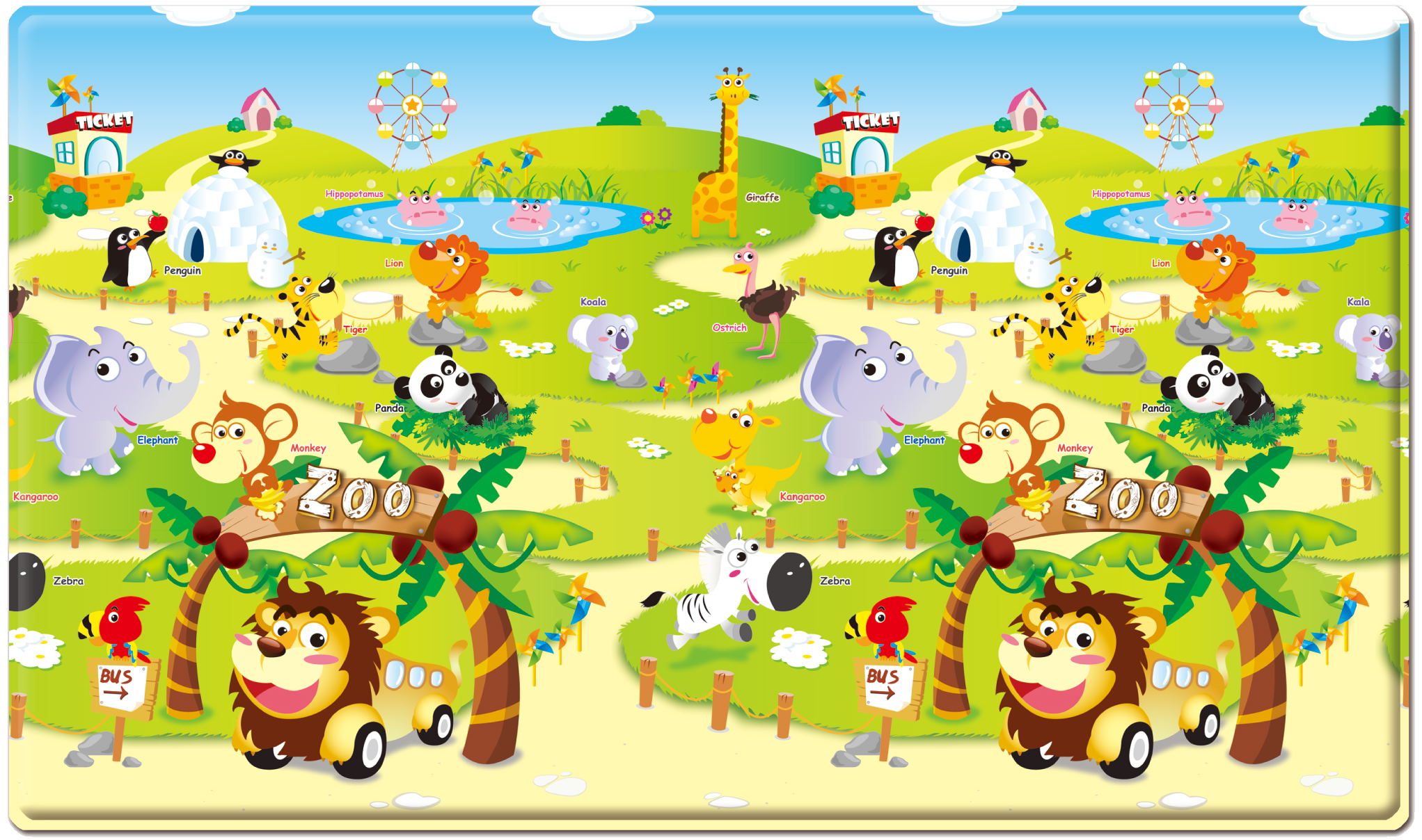 Dwinguler Playmat - Zoo - Large Front