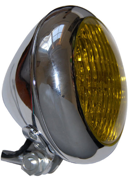 Throttle Addiction Headlight - Bezel Style Chrome w/Yellow Lens