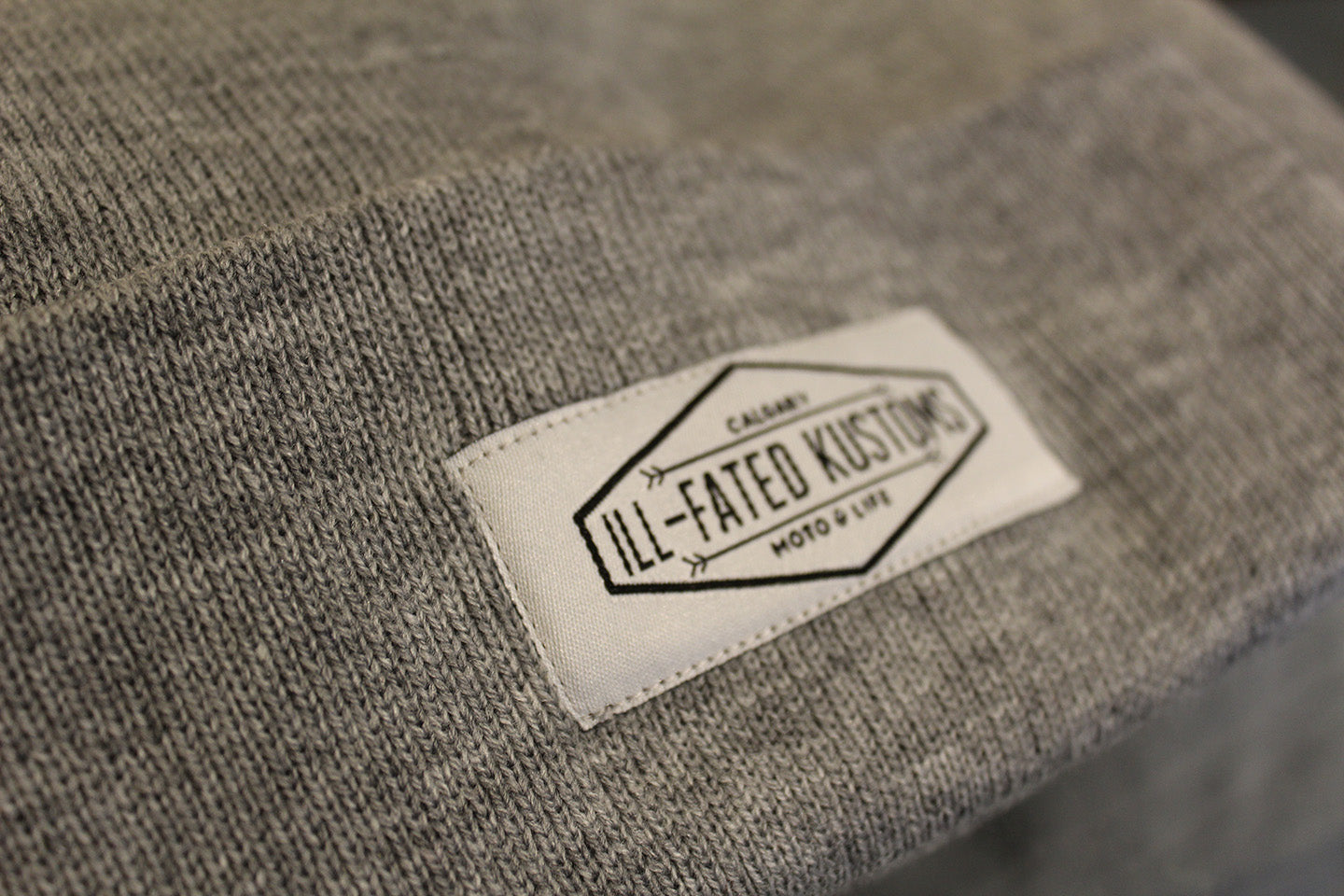 3f84125b IFK Moto Life Beanie - Heather Grey - Ill-Fated Kustoms