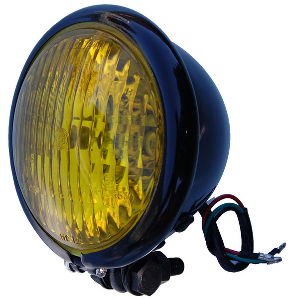 Throttle Addiction Headlight - Universal Black 4.5'' w/Yellow Lens