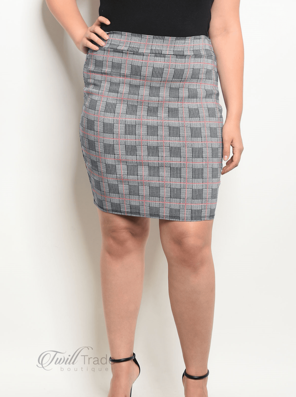 Navy Red Checked Skirt Front