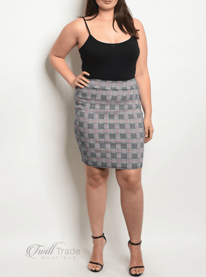 Navy Red Checked Skirt