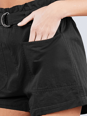 Black Rolled Pocket Shorts - twill tradE