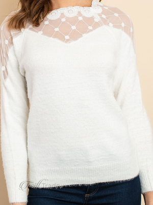 Fluffy Ivory Lace Sweater