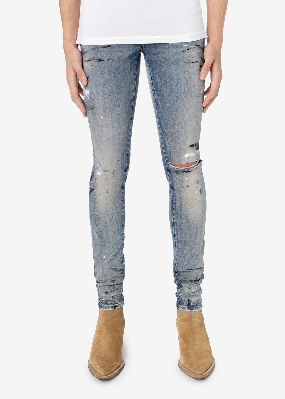 HAND PAINTED SLIT KNEE JEAN - CLAY INDIGO