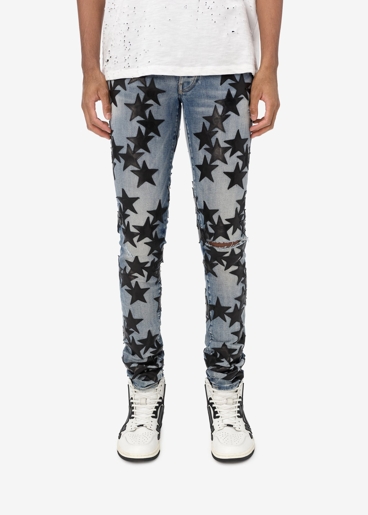 CHEMIST LEATHER STARS JEAN - CLAY INDIGO / BLACK