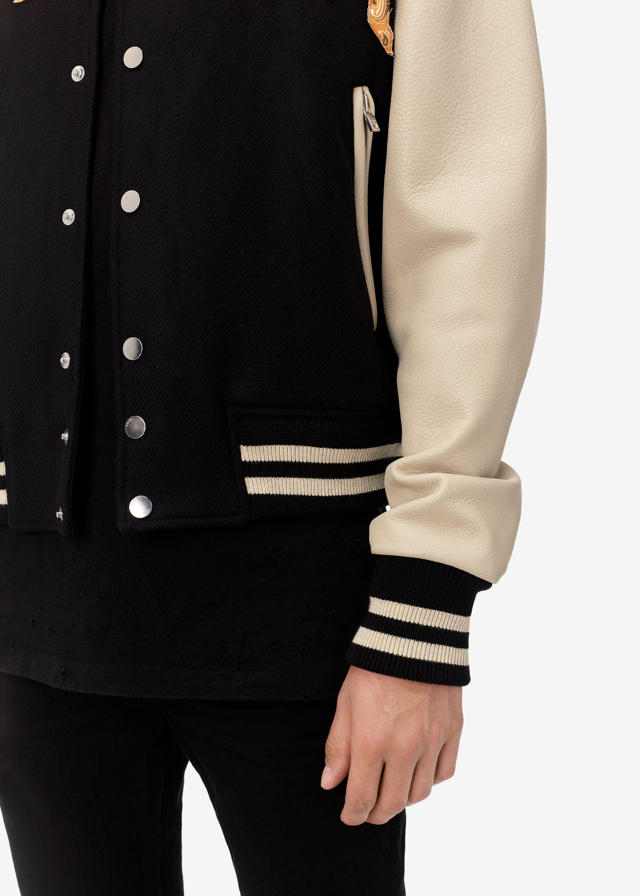 VINTAGE APPLIQUE AMIRI VARSITY - BLACK