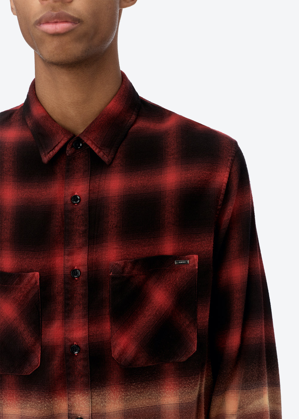BLEACHED SHADOW PLAID - Red