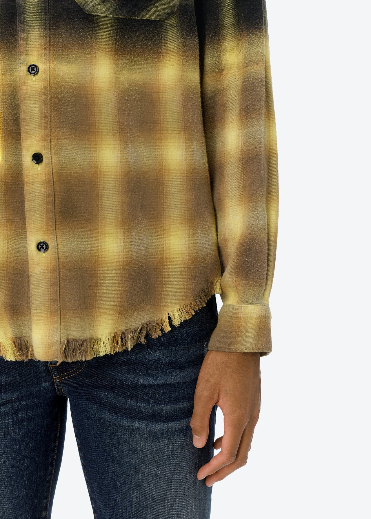 BLEACHED SHADOW PLAID - CANARY