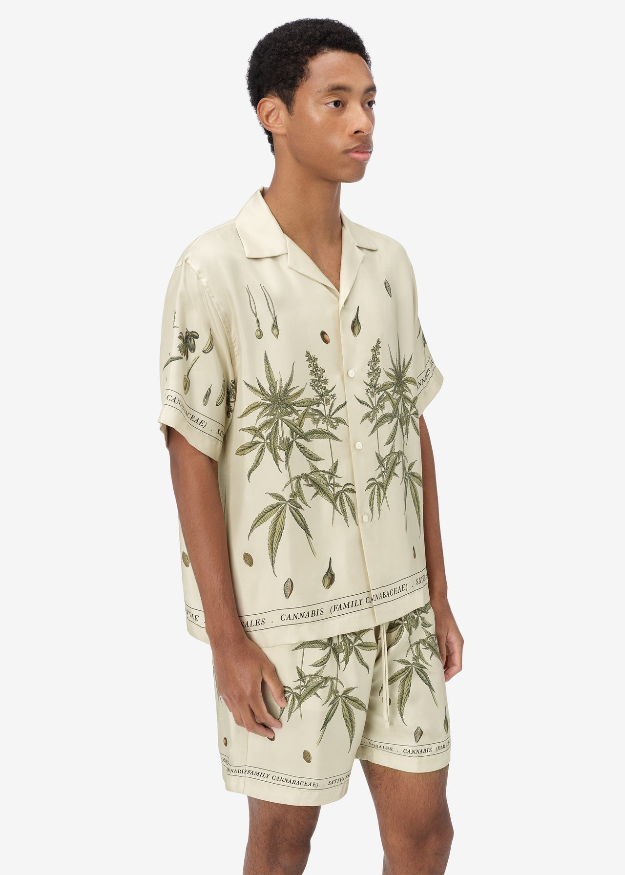 BOTANICAL LEAVES SHORT SLEEVE SHIRT - Natural