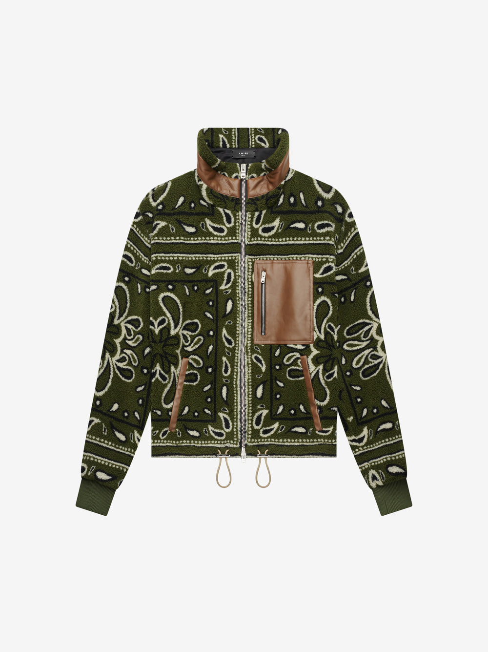 BANDANA PRINT ZIP UP - MILITARY GREEN