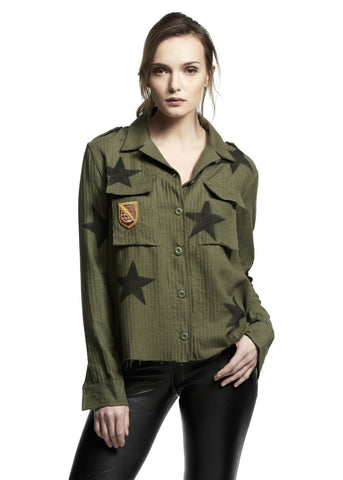 CASHMERE MILITARY STAR SHIRT OLIVE