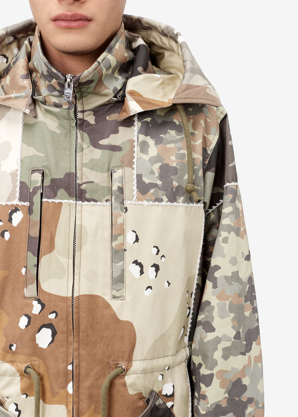 LONG HOODED PARKA - Camo