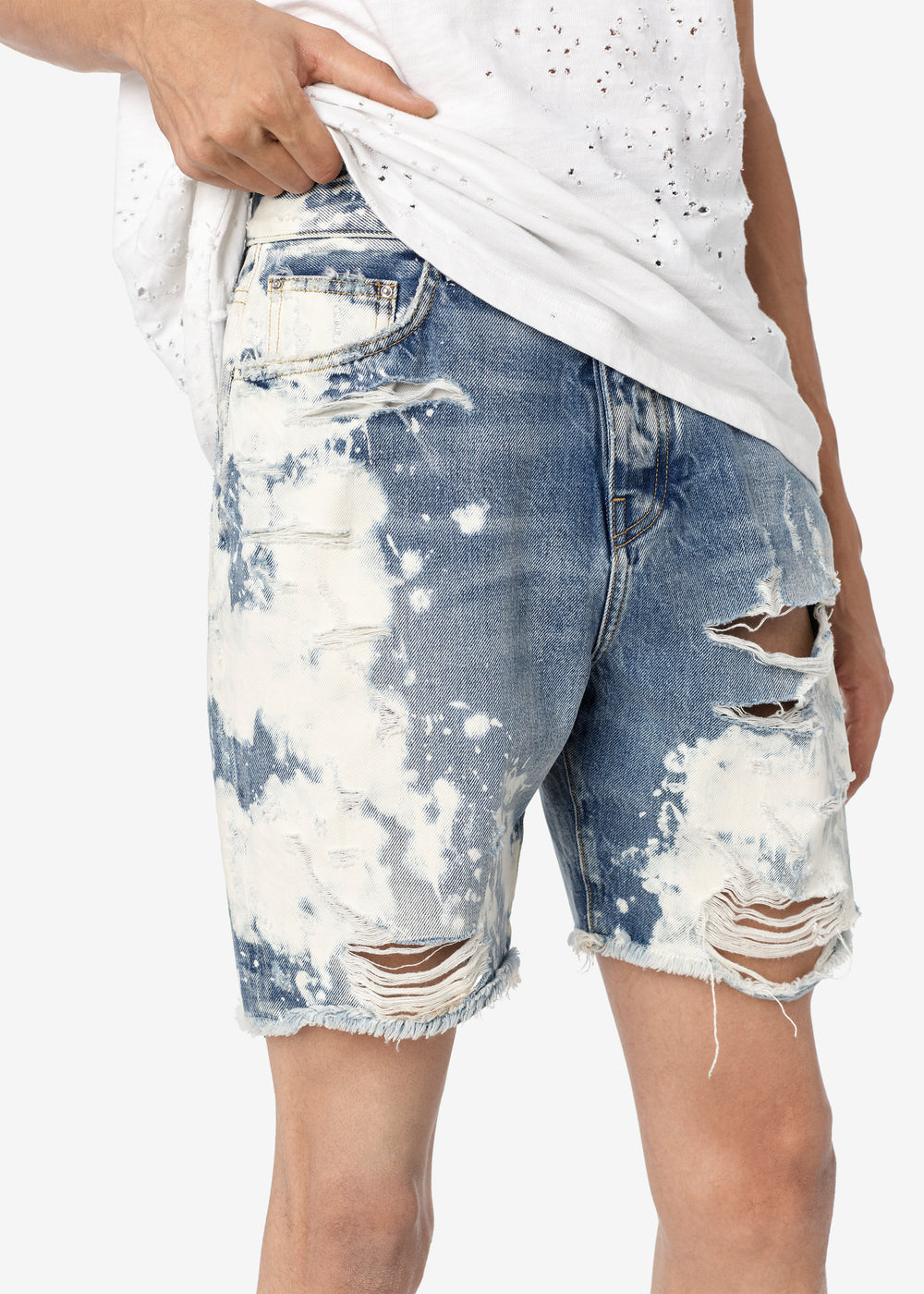 BLEACHED PAINTER SHORTS - CLAY INDIGO