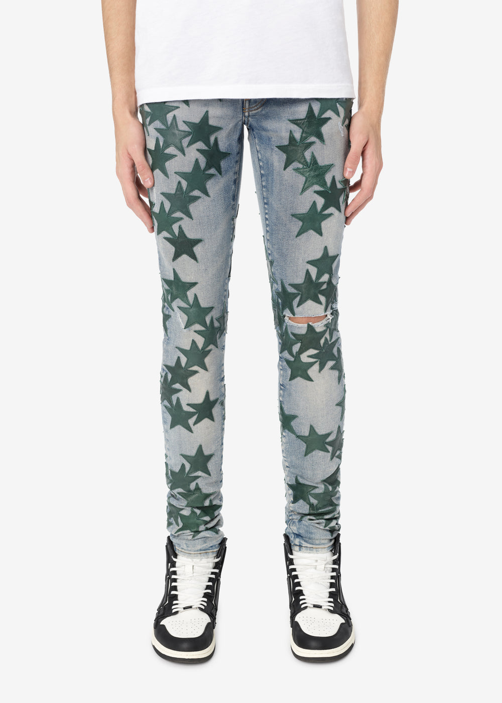CHEMIST LEATHER STARS JEAN - CLAY INDIGO / GREEN