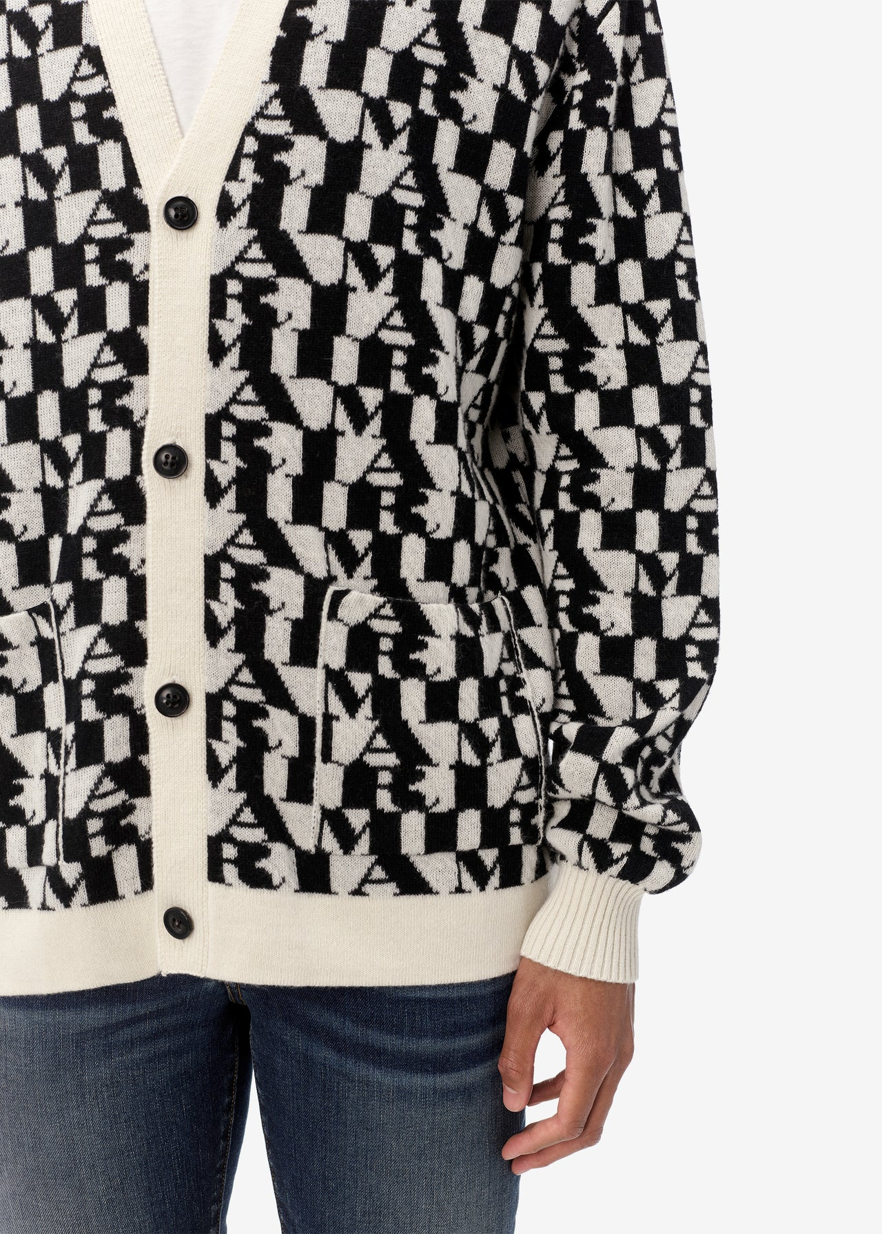 ALL OVER AMIRI CARDIGAN - BLACK / NATURAL