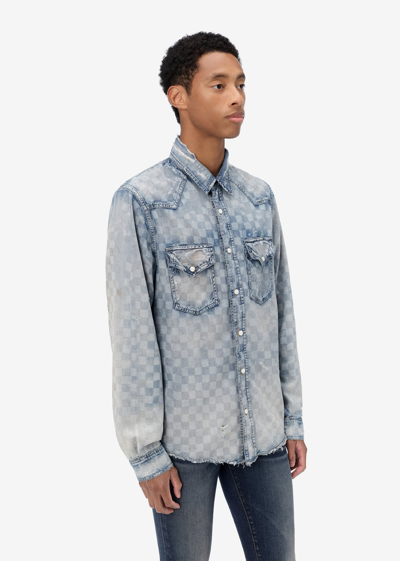 LASER CHECK SHIRT - CLAY INDIGO