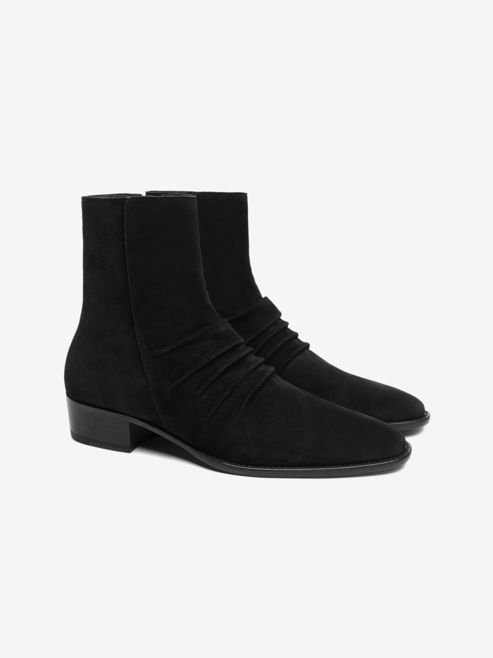 STACK BOOT LEATHER SOLE - BLACK / BLACK