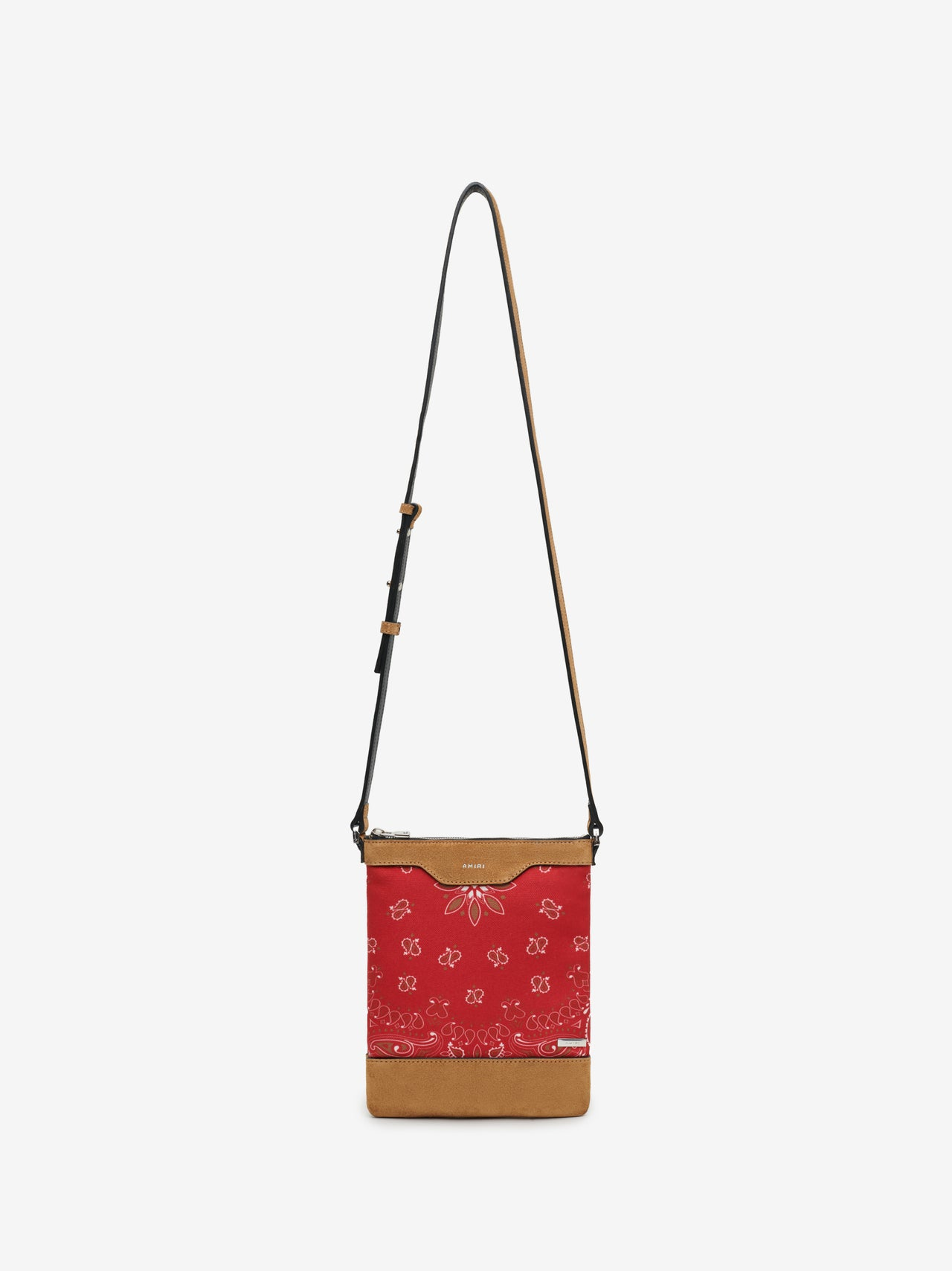 CANVAS / SUEDE BANDANA CROSSBODY - RED / TAN