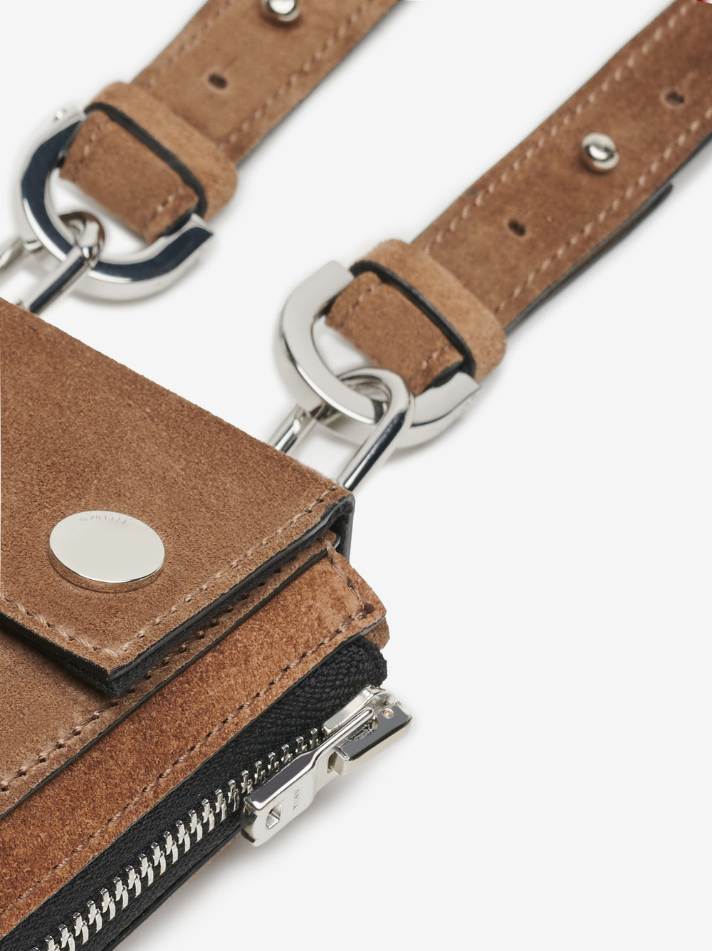 SUEDE HARNESS BAG - TOBACCO