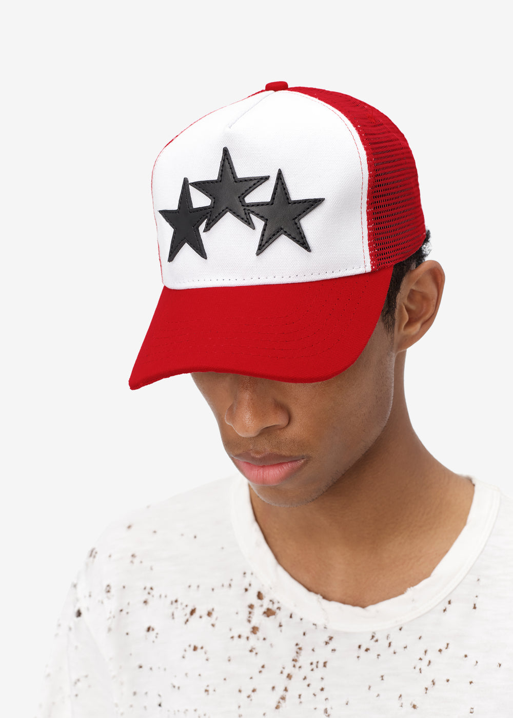 3 STAR COLOR BLOCK TRUCKER HAT - Red / White