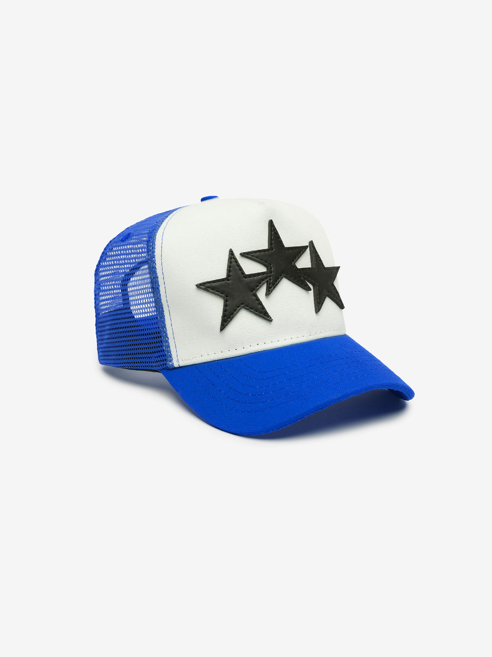 3 STAR COLOR BLOCK TRUCKER HAT - Blue / White