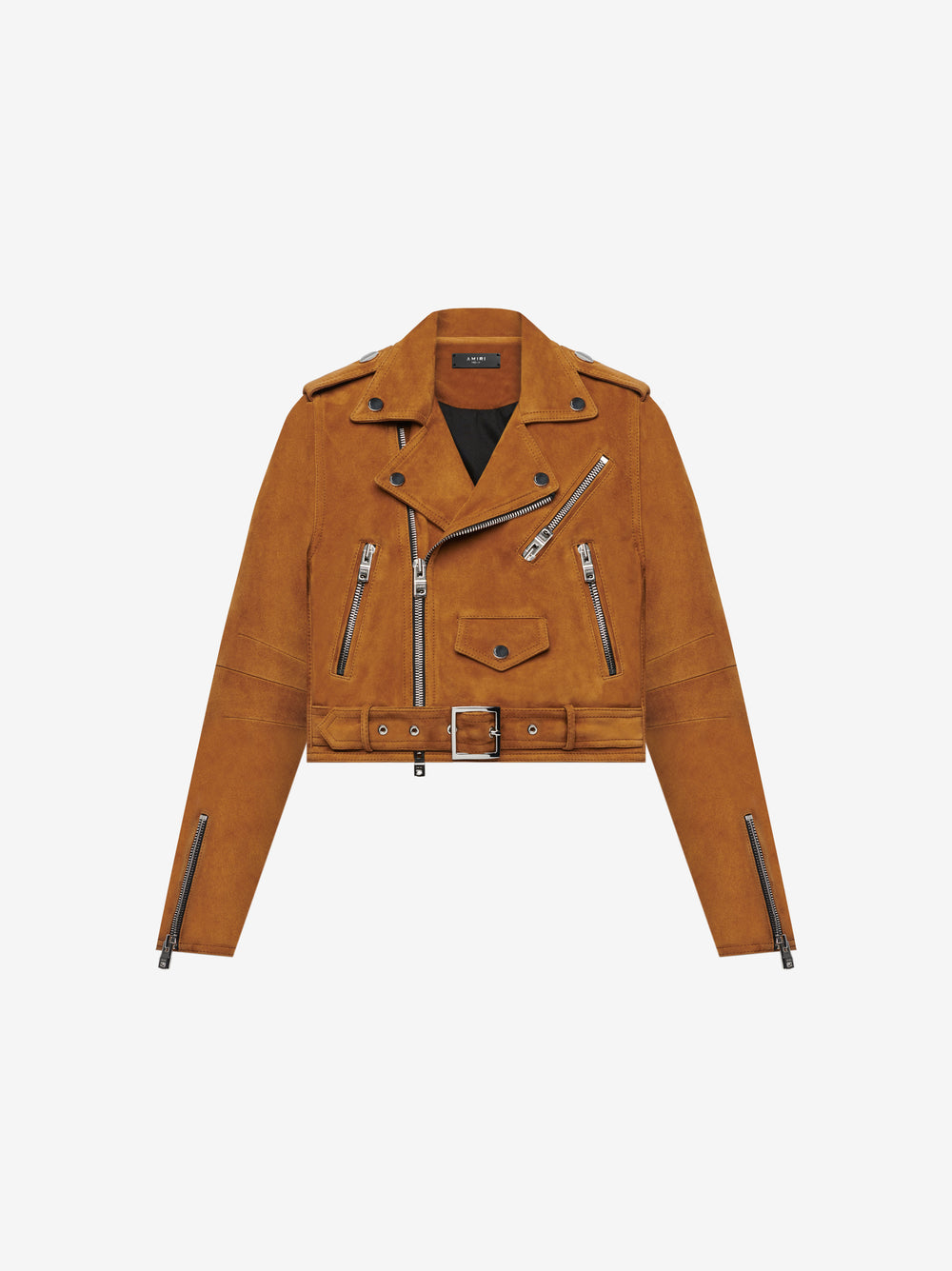 CROPPED LEATHER PERFECTO - TOBACCO
