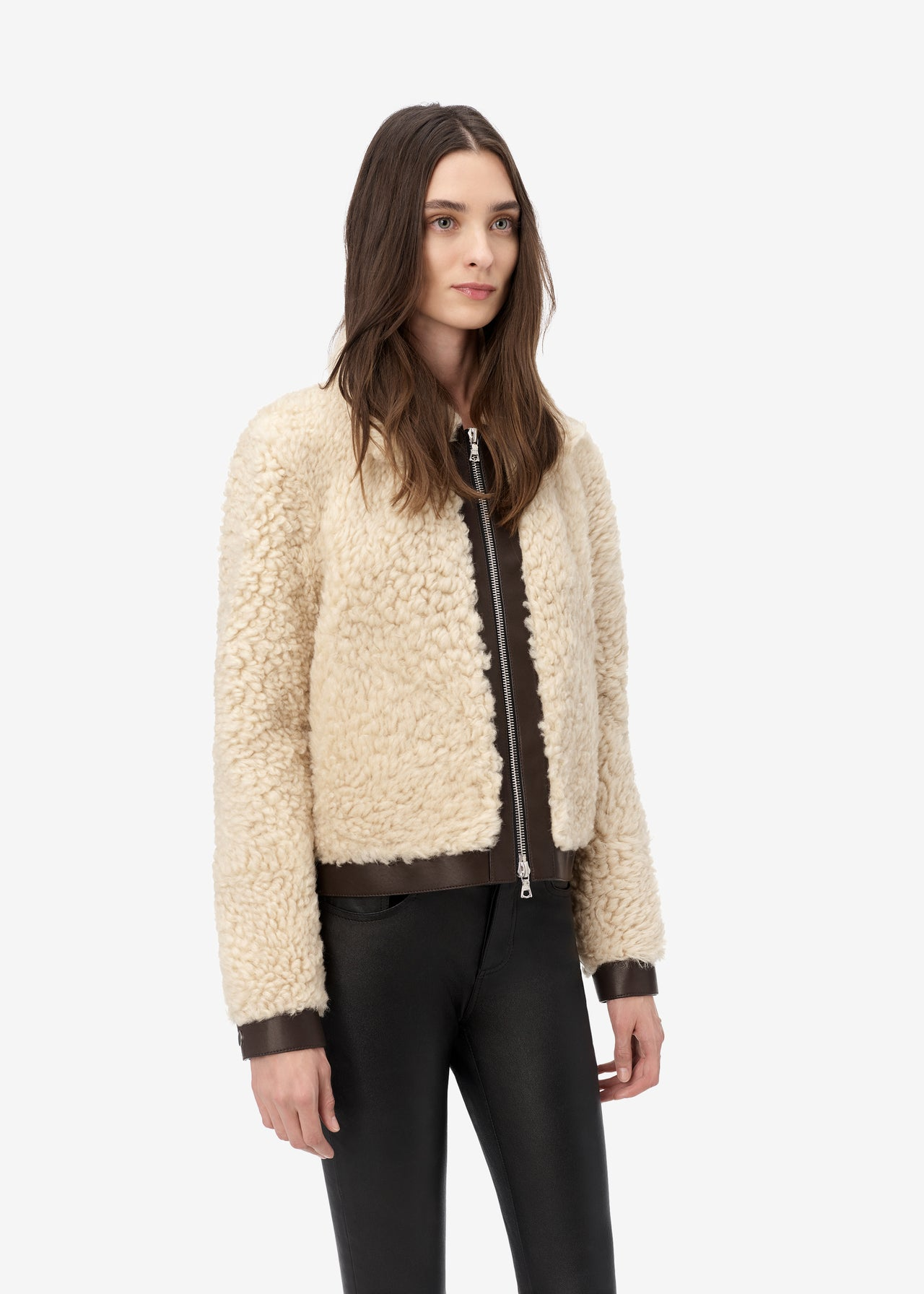 SHEARLING FUR ZIPPED JACKET - Natural