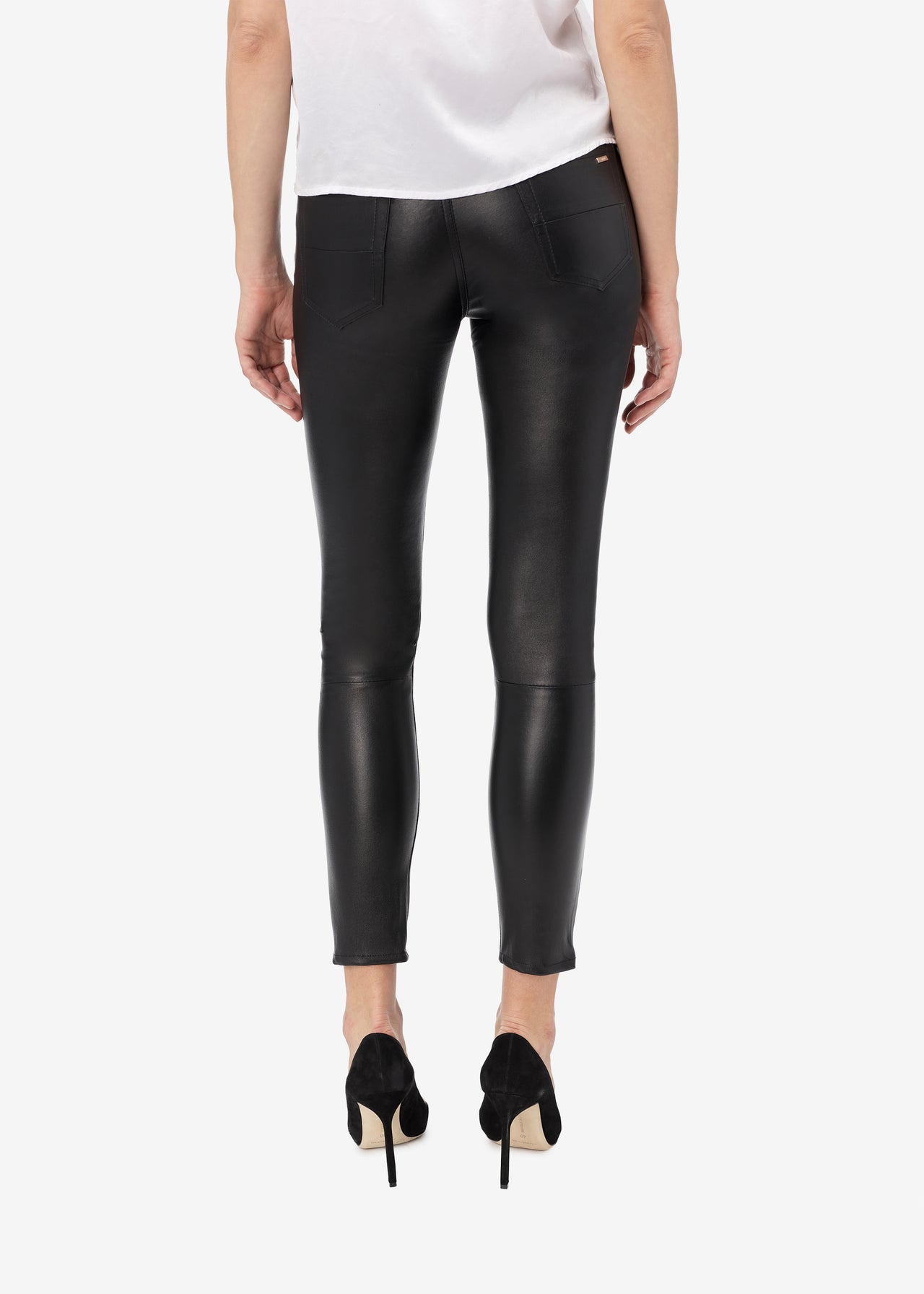 5 POCKET STRETCH LEATHER PANT - BLACK