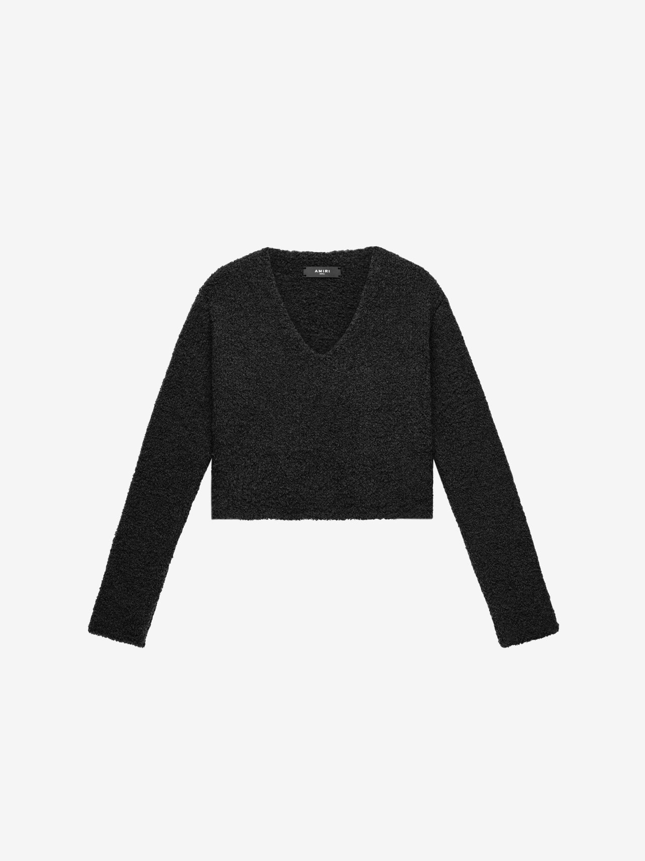 CROPPED BOUCLE SWEATER - BLACK
