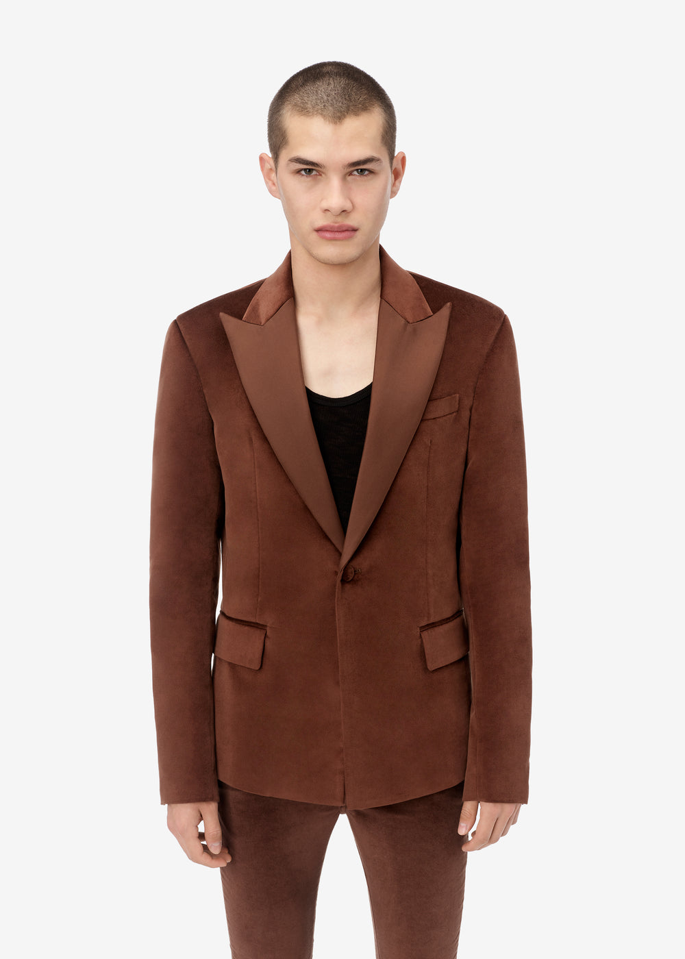 SINGLE BREASTED BLAZER - TOBACCO