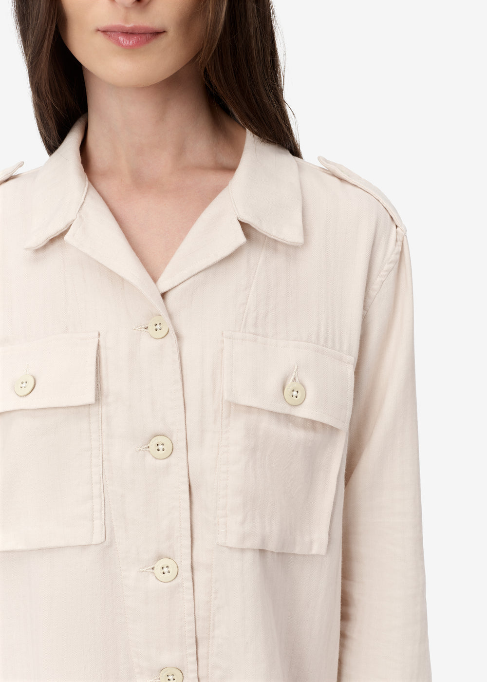 DOUBLE POCKET MILITARY SHIRT - Natural