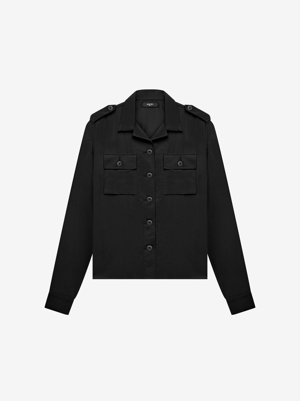 DOUBLE POCKET MILITARY SHIRT - BLACK