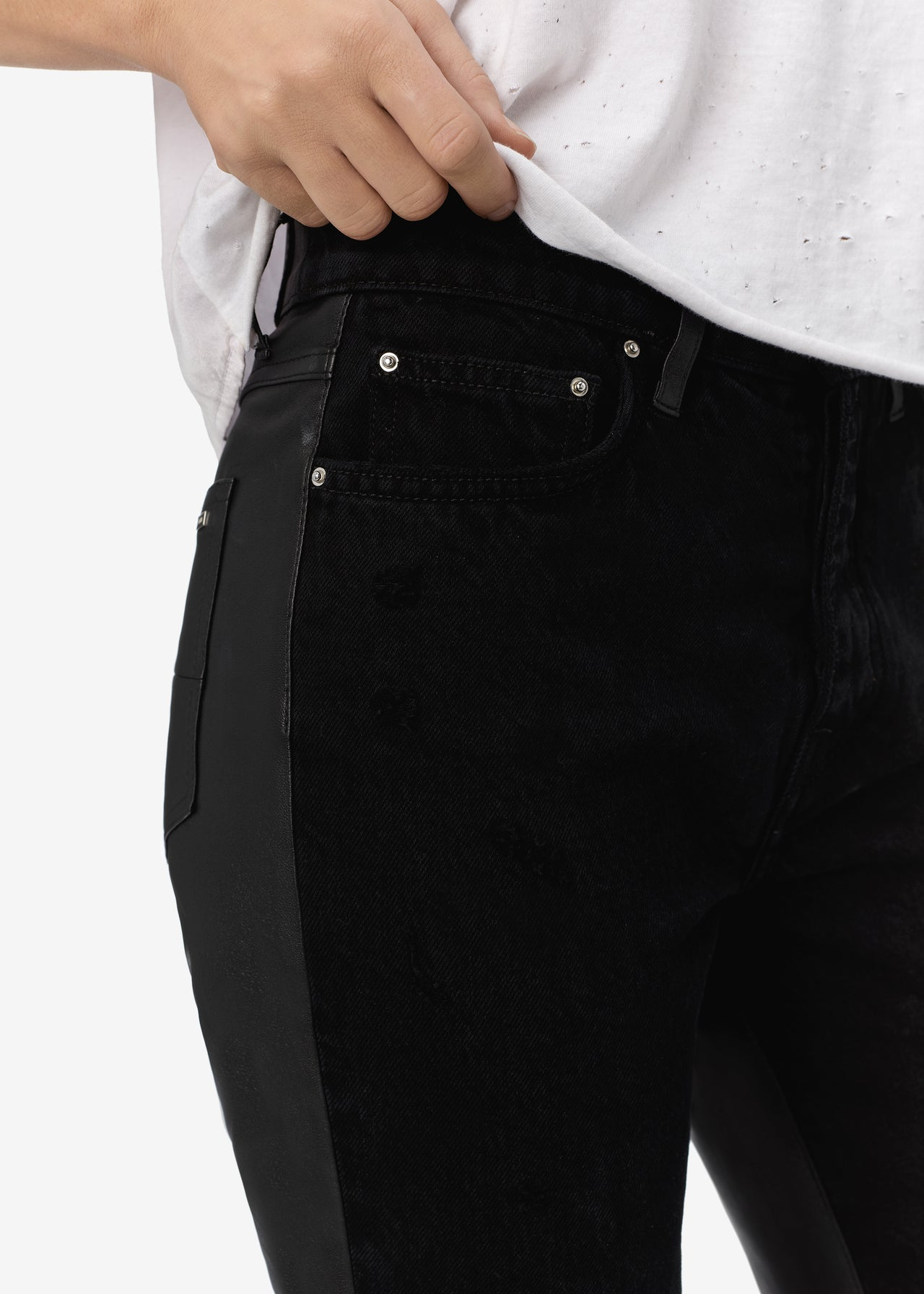 CROPPED STRAIGHT LEATHER / DENIM - ANTIQUE BLACK
